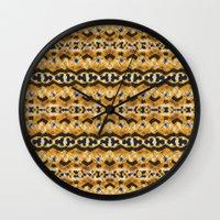 Montana Stripe - Gold Wall Clock
