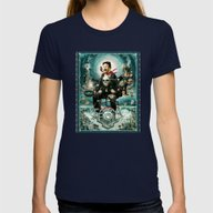 Nikola Tesla Master Of L… Womens Fitted Tee Navy SMALL