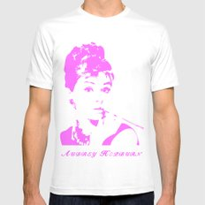 Audrey Hepburn White Mens Fitted Tee SMALL