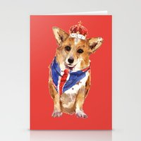JUBILEE CORGI on RED Stationery Cards