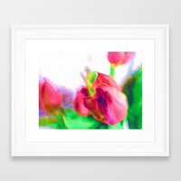 Harborough Tulips - Wate… Framed Art Print