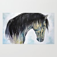 Horse In Blue Rug