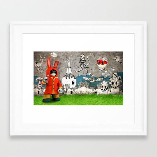 Super Bunny Framed Art Print