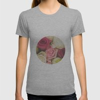 Vintage Roses  Womens Fitted Tee Athletic Grey SMALL
