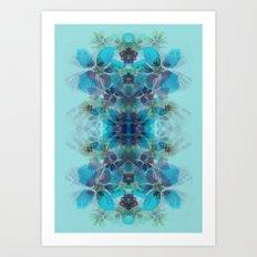 Blue fireworks Art Print