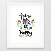 Think Happy Be Happy Framed Art Print