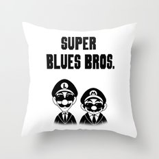 Super Blues Bros. (Black and White) Throw Pillow