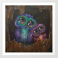 Colorful Owl Love Art Print
