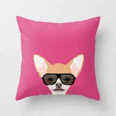 Misha with Glasses - Aviator glasses, hipster glasses, chihuahua, dog, cute, pet, cute dog Throw Pillow