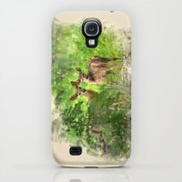 Galaxy S4 Cases featuring Watercolor Deer by Christina Rollo