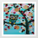 :: Gemmy Owl Loves Jewel Trees :: Art Print