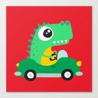 Dino Car Canvas Print