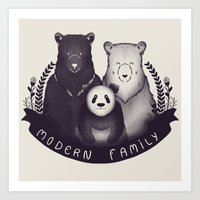 Modern Bear Family Art Print