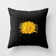 Beautiful Sunflower with Dark Brown Background Throw Pillow
