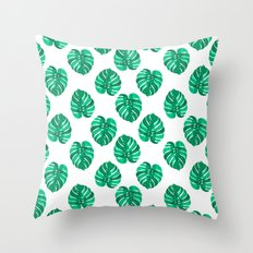 Monstera house plant leaf green painting pattern trendy hipster indoor house plant tropical garden   Throw Pillow