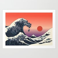 The Great Wave of Black Pug Art Print