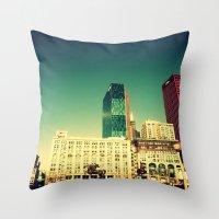 Chicago Retro Skyline ~ … Throw Pillow
