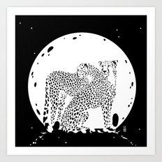 Moonlight Cheetahs Art Print