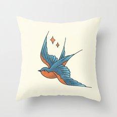 Swallow Tattoo - Colour Throw Pillow
