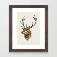 Deer // Animal Poker Framed Art Print