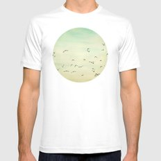 Graceful Flock Mens Fitted Tee SMALL White