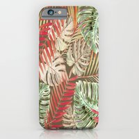iPhone & iPod Case featuring Jungle Tangle Red On Brown by ALLY COXON