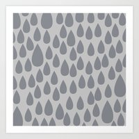 Grey drops Art Print