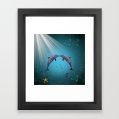 dolphins love Framed Art Print