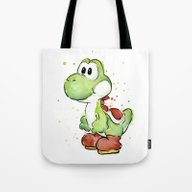 Yoshi Watercolor Mario Tote Bag
