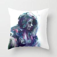 Melancholy Mood Portrait Throw Pillow