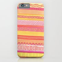 iPhone & iPod Case featuring Tribal#1 (Orange/Pink/Yellow) by haleyivers