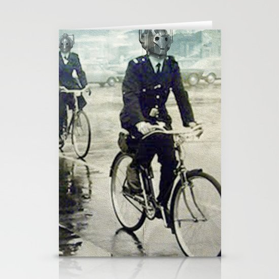 Cybermen on bikes Stationery Card
