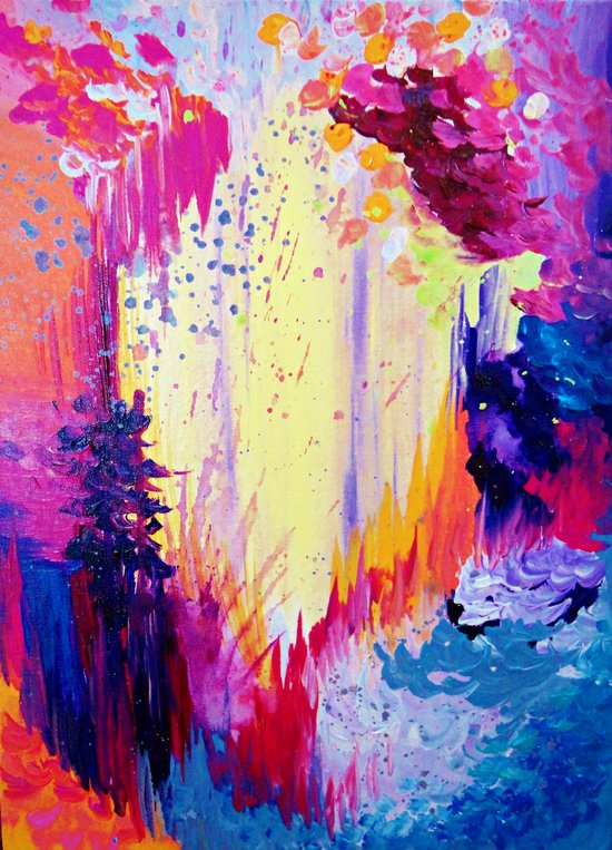IN TIMES OF CHAOS - Intense Nature Abstract Acrylic Painting Wild Rainbow Volcano Waves Fine Art  Art Print