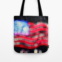 Red, White, and Bokeh Tote Bag