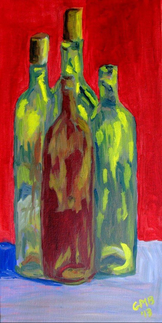 Four Bottles Art Print