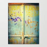 Graffiti on iron door Canvas Print