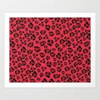 Pink and Red Jaguar Art Print