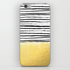Blaire - Brushed Gold Stripes - black and gold, gold trend, gold phone case, gold cell case iPhone & iPod Skin