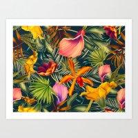 Tropical Flowers And Lea… Art Print
