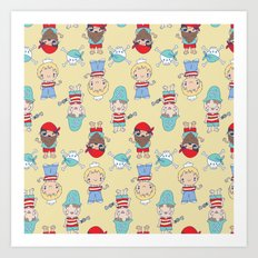 CUTE KIDS PIRATE PARTY Art Print