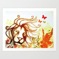 Beast and the Butterflies Art Print