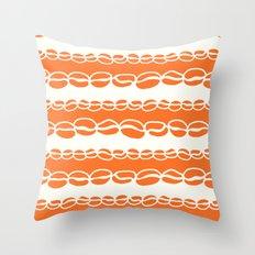 Coffee Beans: Orange Throw Pillow