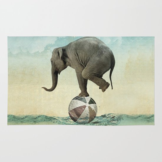 Elephant at Sea Area & Throw Rug