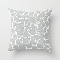 Hibiscus Animal : Light Grey  Throw Pillow