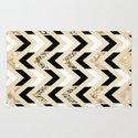 Black, White & Gold Glitter Herringbone Chevron on Nude Cream Rug