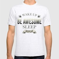 Be Awesome. Repeat. (Sal… Mens Fitted Tee Ash Grey SMALL