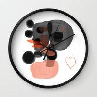 black and orange Wall Clock