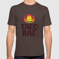 Taco Bae Vintage Print Mens Fitted Tee Brown SMALL