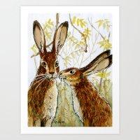 Funny rabbits - Little Kiss 543 Art Print