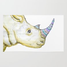 Striped Rhino Illustration Rug